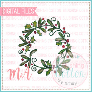 CHRISTMAS WREATH HOLLY WATERCOLOR DESIGN BCMA