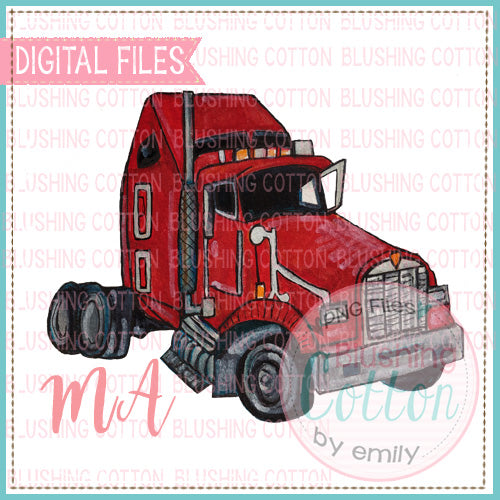 SEMI TRACTOR TRUCK RED WATERCOLOR DESIGN BCMA
