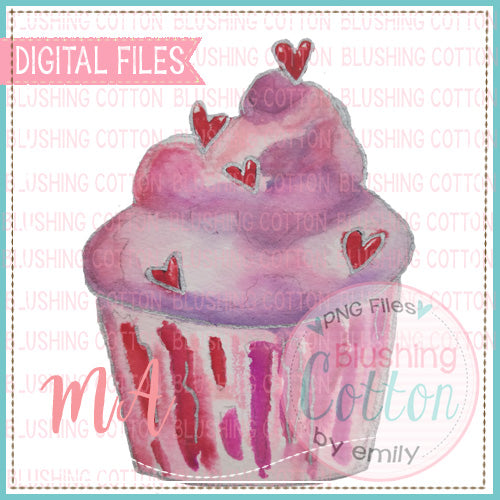 VALENTINE CUPCAKE WATERCOLOR DESIGN BCMA