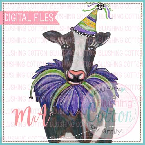 MARDI GRAS COW WATERCOLOR DESIGN BCMA