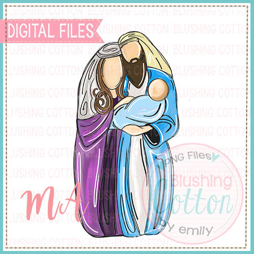 MARY AND JOSEPH HOLDING BABY JESUS DESIGN   BCMA