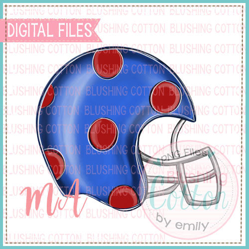 BLUE RED POLKA DOT HELMET DESIGN   BCMA