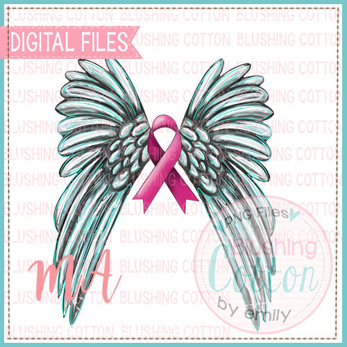 BREAST CANCER RIBBON WITH WINGS DESIGN   BCMA