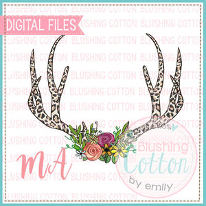 LEOPARD PRINT ANTLERS WITH FLOWERS DESIGN  BCMA