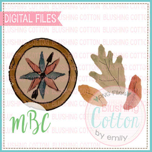 COMPASS AND LEAVES WATERCOLOR DESIGN SET BCMBC