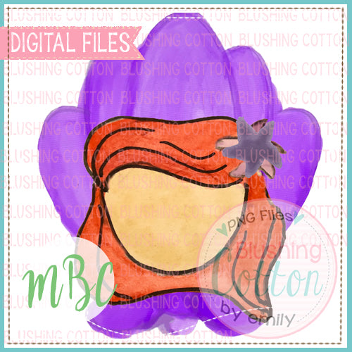 PURPLE SHELL BACKGROUND WITH GIRL WATERCOLOR DESIGN BCMBC