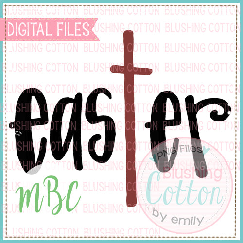 EASTER CROSS WORDART WATERCOLOR DESIGN BCMBC