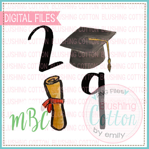 GRADUATION CAP DIPLOMA 2019 WATERCOLOR DESIGN BCMBC