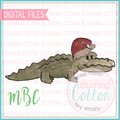 ALLIGATOR WITH SANTA HAT WATERCOLOR DESIGN BCMC