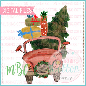 RED CAR CHRISTMAS TREE WATERCOLOR DESIGN BCMC
