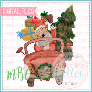 RED CAR CHRISTMAS SANTA TREE WATERCOLOR DESIGN BCMC