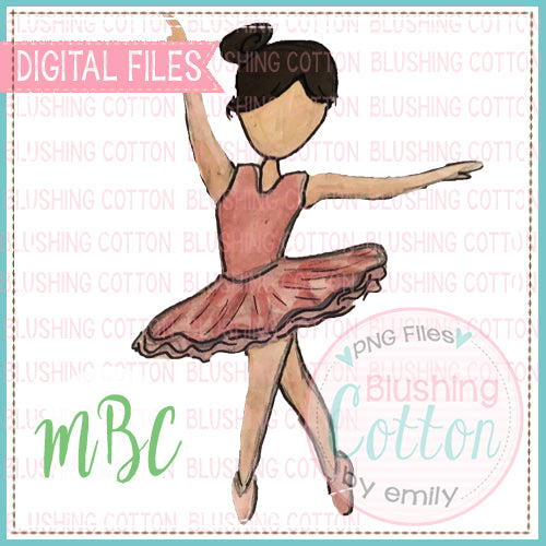 BALLERINA BLACK HAIR WATERCOLOR DESIGN FOR PRINTING AND OTHER CRAFTS BCMBC
