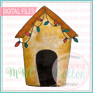 DOGHOUSE WITH CHRISTMAS LIGHTS WATERCOLOR DESIGN FOR PRINTING AND OTHER CRAFTS BCMBC