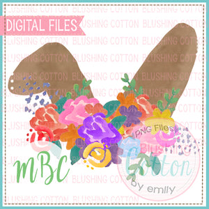 FLORAL BUNNY EAR TOPPER WATERCOLOR DESIGN BCMBC