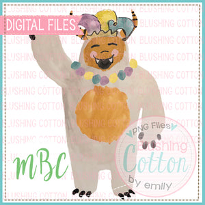 HAPPY MONSTER MARDI GRAS WATERCOLOR DESIGN BCMBC