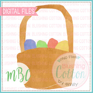 SIMPLE EASTER BASKET WITH EGGS WATERCOLOR DESIGN BCMBC