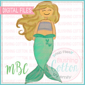 MERMAID BLONDE HAIR WATERCOLOR DESIGN BCMBC