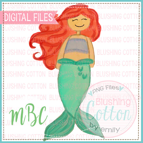 MERMAID RED HAIR WATERCOLOR DESIGN BCMBC