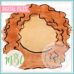 GIRL RED CURLY HAIR WATERCOLOR DESIGN BCMBC