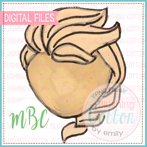 GIRL BRAIDED WHITE HAIR WATERCOLOR DESIGN BCMBC