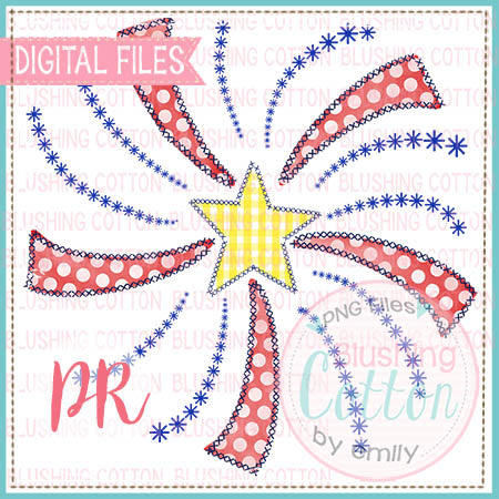 FIREWORK FAUX APPLIQUE  WATERCOLOR DESIGN  BCPR