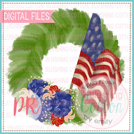 PATRIOTIC WREATH  WATERCOLOR DESIGN  BCPR