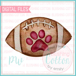 FOOTBALL WITH MAROON PAW DESIGN WATERCOLOR PNG BCPW