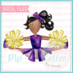 AFRICAN AMERICAN CHEERLEADER PURPLE AND YELLOW DESIGN WATERCOLOR PNG BCPW