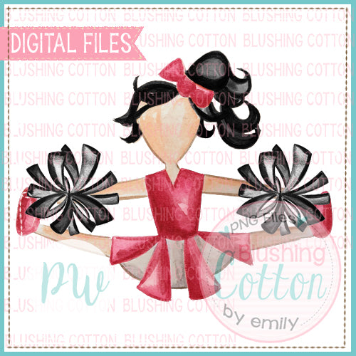 CHEERLEADER RED AND BLACK WITH BLACK HAIR DESIGN WATERCOLOR PNG BCPW