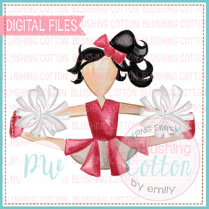 CHEERLEADER RED AND WHITE WITH BLACK HAIR WATERCOLOR PNG BCPW