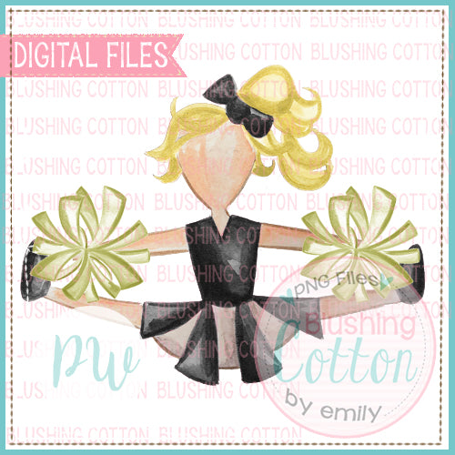 CHEERLEADER BLACK AND GOLD WITH BLONDE HAIR DESIGN WATERCOLOR PNG BCPW
