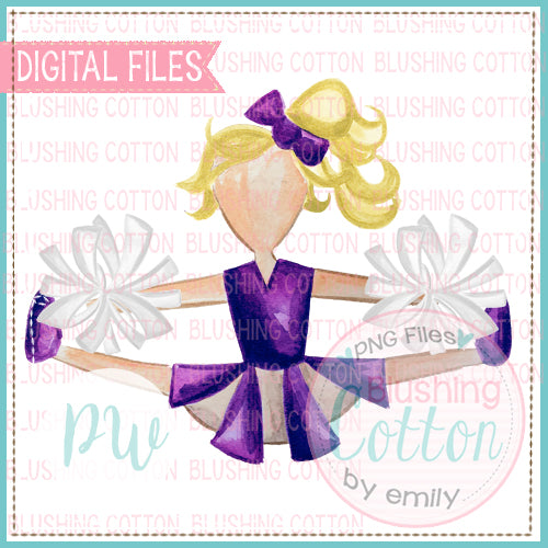CHEERLEADER PURPLE AND WHITE WITH BLONDE HAIR WATERCOLOR PNG BCPW