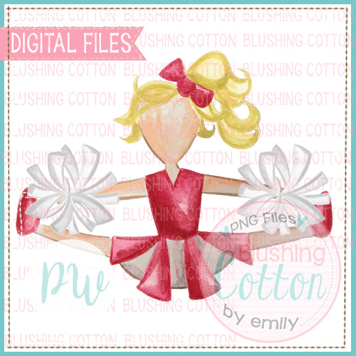 CHEERLEADER RED AND WHITE WITH BLONDE HAIR DESIGN WATERCOLOR PNG BCPW