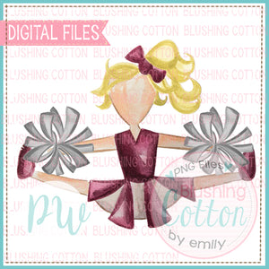 CHEERLEADER MAROON AND GRAY WITH BLONDE HAIR WATERCOLOR DESIGN PNG DIGITAL FILE BCPW