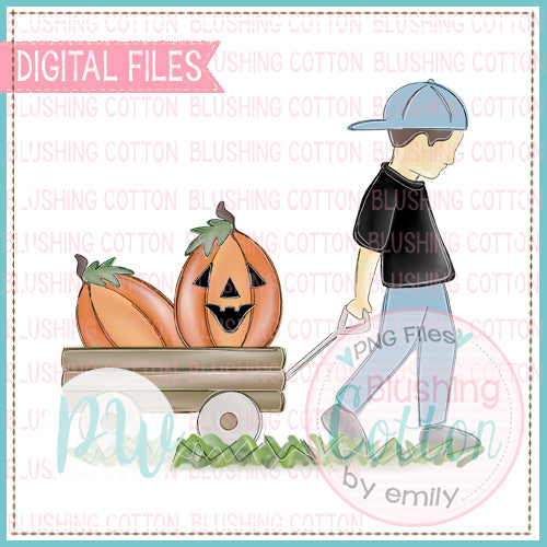 BRUNETTE BOY PULLING WAGON WITH PUMPKINS DESIGN  BCPW