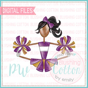 CHEERLEADER AFRICAN AMERICAN PURPLE AND GOLD DESIGN  BCPW