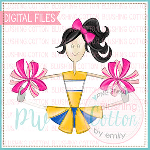 CHEERLEADER BLACK HAIR YELLOW AND ROYAL WITH PINK POMPOMS  BCPW