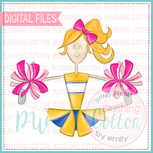 CHEERLEADER BLONDE HAIR YELLOW AND ROYAL WITH PINK POMPOMS   BCPW