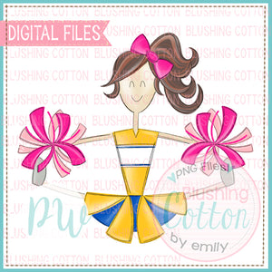 CHEERLEADER BRUNETTE HAIR YELLOW AND ROYAL WITH PINK POMPOMS   BCPW