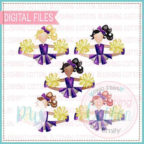 CHEERLEADER SET WITH ALL HAIR COLORS PURPLE AND YELLOW DESIGN WATERCOLOR PNG BCPW