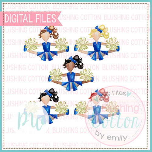 CHEERLEADER SET IN ALL COLOR HAIR ROYAL BLUE AND GOLD DESIGN WATERCOLOR PNG BCPW