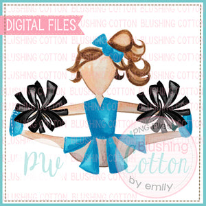 CHEERLEADER TEAL WITH BLACK POMPOMS DESIGN WATERCOLOR PNG BCPW
