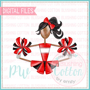 CHEERLEADER AFRICAN AMERICAN RED AND BLACK   BCPW