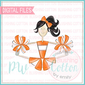 CHEERLEADER BLACK HAIR ORANGE AND WHITE    BCPW