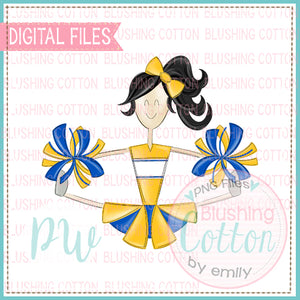 CHEERLEADER BLACK HAIR YELLOW AND BLUE    BCPW