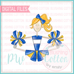 CHEERLEADER BLONDE HAIR BLUE AND YELLOW    BCPW