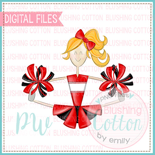 CHEERLEADER BLONDE HAIR RED AND BLACK   BCPW
