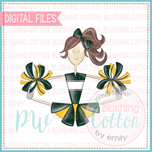 CHEERLEADER BRUNETTE FOREST GREEN AND YELLOW UNIFORM DESIGN   BCPW