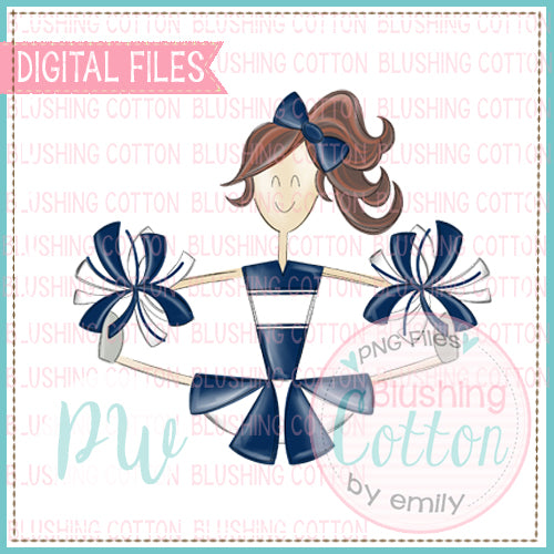 CHEERLEADER BRUNETTE NAVY AND WHITE UNIFORM DESIGN   BCPW