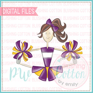 CHEERLEADER BRUNETTE PURPLE AND YELLOW UNIFORM DESIGN   BCPW